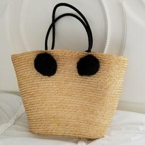 Handbags - Straw Bag with Pom Poms